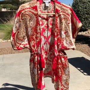 CABI silk kimono in Red & Gold